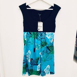 NEW Bebe Butterfly Jersey Bust Dress with Pockets
